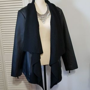 Plus size black faux leather jacket new size 1X